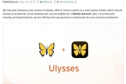 Mac/iOS の優れたライティングアプリ Ulysses がサブスクリプション制に移行